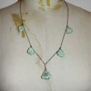 Art-Deco-Sterling-Silver-Nugget-Turquoise-Neckl